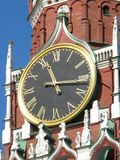 Kremlin clock bottom view royalty free stock images