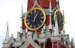 Kremlin clock, Moscow, Russia Stock Images