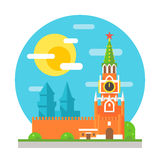 Kremlin clock tower flat design Stock Photo