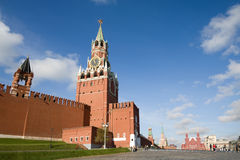 Kremlin Clock Tower and Red square, Moscow Royalty Free Stock Image