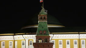 Kremlin de Moscou e bandeira de Rússia na noite vídeos de arquivo