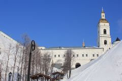 Kremlin de Tobolsk, Tobolsk, Sibéria, Rússia Veja a parte mais inferior da cidade fotos de stock