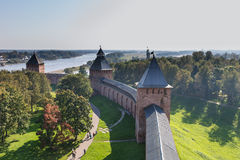 The Kremlin or Detinets, its ancient name, was built by prince Yaroslavl, and it is the oldest Kremlin in Russia. VELIKIY NOVGOROD, RUSSIA - SEPTEMBER 20: The Stock Photo