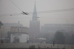 Kremlin em Moscovo está no fumo Foto de Stock Royalty Free