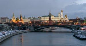 Kremlin embankment. Bolshoy Kamenny Bridge. Morning blue hour winter shot Stock Photos