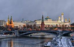 Kremlin embankment. Morning blue hour winter shot Royalty Free Stock Image