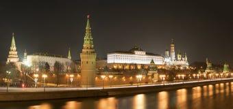 Kremlin embankment, Moscow Kremlin, Grand Kremlin Palace. Night panoramic shot Stock Image