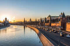 Kremlin embankment of the Moscow river at sunset. Royalty Free Stock Photo