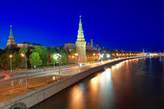 Moscow Kremlin and Kremlin Embankment at night. Royalty Free Stock Photography
