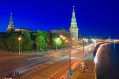 Moscow Kremlin and Kremlin Embankment at night. Royalty Free Stock Image