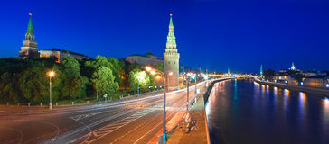 Moscow Kremlin and Kremlin Embankment at night. Royalty Free Stock Image