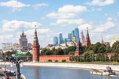 Kremlin, embankments, skyscrapers, Moscow City Stock Photos