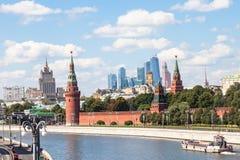 Kremlin, embankments, skyscrapers, Moscow City Stock Photos