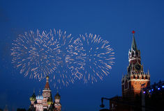 Kremlin fireworks. Celebratory fireworks on the Red area in Moscow Royalty Free Stock Images
