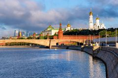 Kremlin Grand Palace at Bolshoy Moskvoretsky Bridge over Moscow Rive. Kremlin with Grand Palace and Churches at Bolshoy Moskvoretsky Bridge over Moscow River in stock images