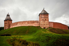 Kremlin of Great Novgorod in cloudy day Royalty Free Stock Photo