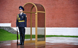 Kremlin Guard, Tomb of the Unknown Soldier, Moscow, Russia. Kremlin Army Guard stands sentry at the Tomb of the Unknown Soldier in Moscow, Russia Stock Images