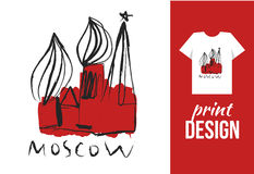 Kremlin hand drawn illustration with text moscow. Vector illustr Stock Photography