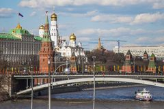 Kremlin i Moskva rzeka Zdjęcia Royalty Free