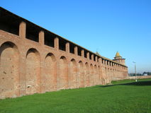Kremlin of Kolomna. Fragment of Kremlin wall in the ancient town Kolomna,Russia Stock Images