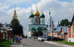 Kremlin in Kolomna, Russia. Many tourists walk on the streets. Stock Photography