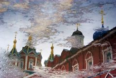 Kremlin in Kolomna, Russia. Water reflection. Color photo. Stock Photography