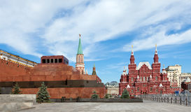 The Kremlin, the Mausoleum and Historical museum Stock Photos