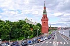kremlin moscow около движения дороги Стоковые Фотографии RF