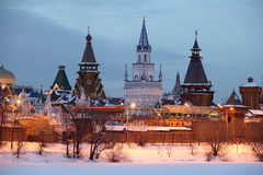Kremlin. Moscow. Izmaylovo kremlin in Moscow. Winter evening stock photo