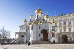 kremlin moscow Förklaringdomkyrka i vintern, Moskva royaltyfri foto