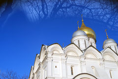 kremlin moscow Färgfoto konstnärliga collagepappersakvareller Ärkeängeldomkyrka Arkivbilder