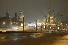 kremlin moscow natt Arkivbild
