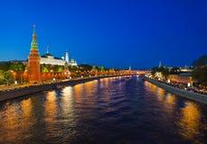 kremlin moscow natt Royaltyfri Bild