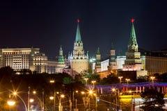 kremlin moscow natt Ryssland Arkivfoto