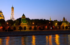 kremlin moscow natt Ryssland Royaltyfri Fotografi