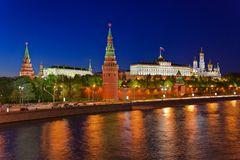 Kremlin in Moscow at night. Kremlin in Moscow (Russia) - at night royalty free stock photos