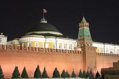 The Kremlin, Moscow at night. The walls of the Kremlin from Red Square, taken at night Stock Image