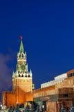 kremlin Moscow noc Russia spasskaya wierza widok Fotografia Stock