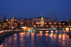 Kremlin and Moscow river. Night view of Kremlin and Moscow river (Moscow, Russia royalty free stock image