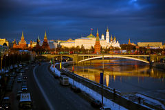 Kremlin. Moscow. Russia. Moscow. Russia. Sunset view to the embankment infront of Kremlin royalty free stock image