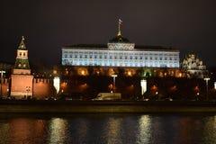 kremlin moscow sikt moscow natttsaritsyno Arkivfoton