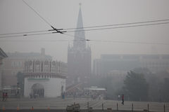 Kremlin in Moscow is in smoke Royalty Free Stock Photo