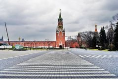 kremlin moscow spasskayatorn Färgfoto Fotografering för Bildbyråer