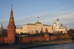 The Kremlin. Of Moscow at the sunset,the Moscow River, Russia Royalty Free Stock Photos