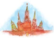 kremlin moscow vattenfärg vektor illustrationer