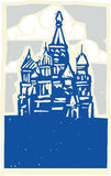 Kremlin in Moscow. Woodcut style Soviet Design type illustration of the Kremlin in Moscow Stock Image