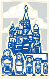 Kremlin with Nested Dolls. Woodcut style Soviet Design type illustration of the Kremlin in Moscow with nested dolls Stock Photo