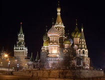 Kremlin Night Scene. St Basils Cathedral and the Kremlin in Moscow viewed at night Royalty Free Stock Images