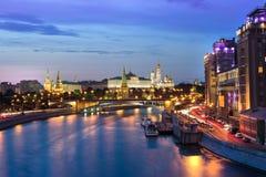 Kremlin at night. Kremlin view at night from river side royalty free stock photos