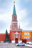 kremlin Nikolskaya torn Arkivfoto